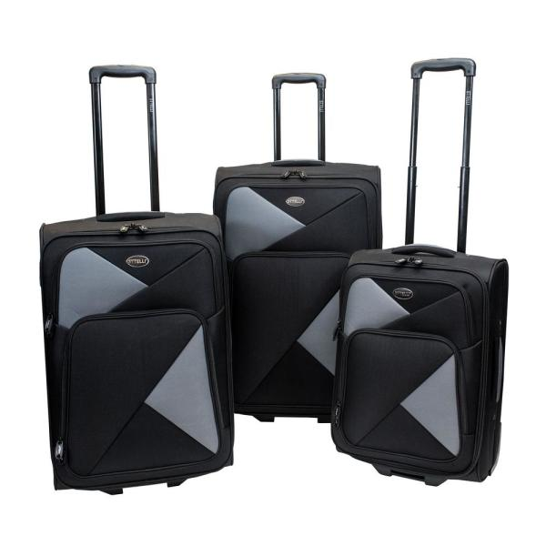 9ae66d776953 Fragmento 3-Piece Black Luggage Set