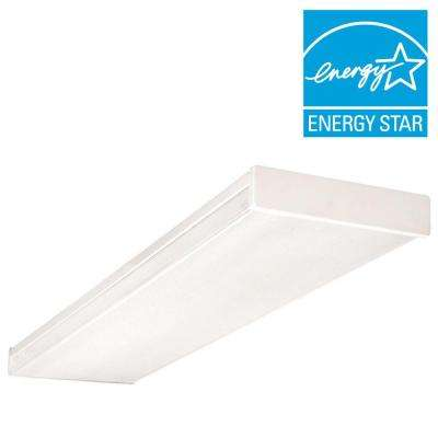 4-Light White Fluorescent Wraparound Steel Ceiling Fixture with Clear Prismatic Acrylic Lens