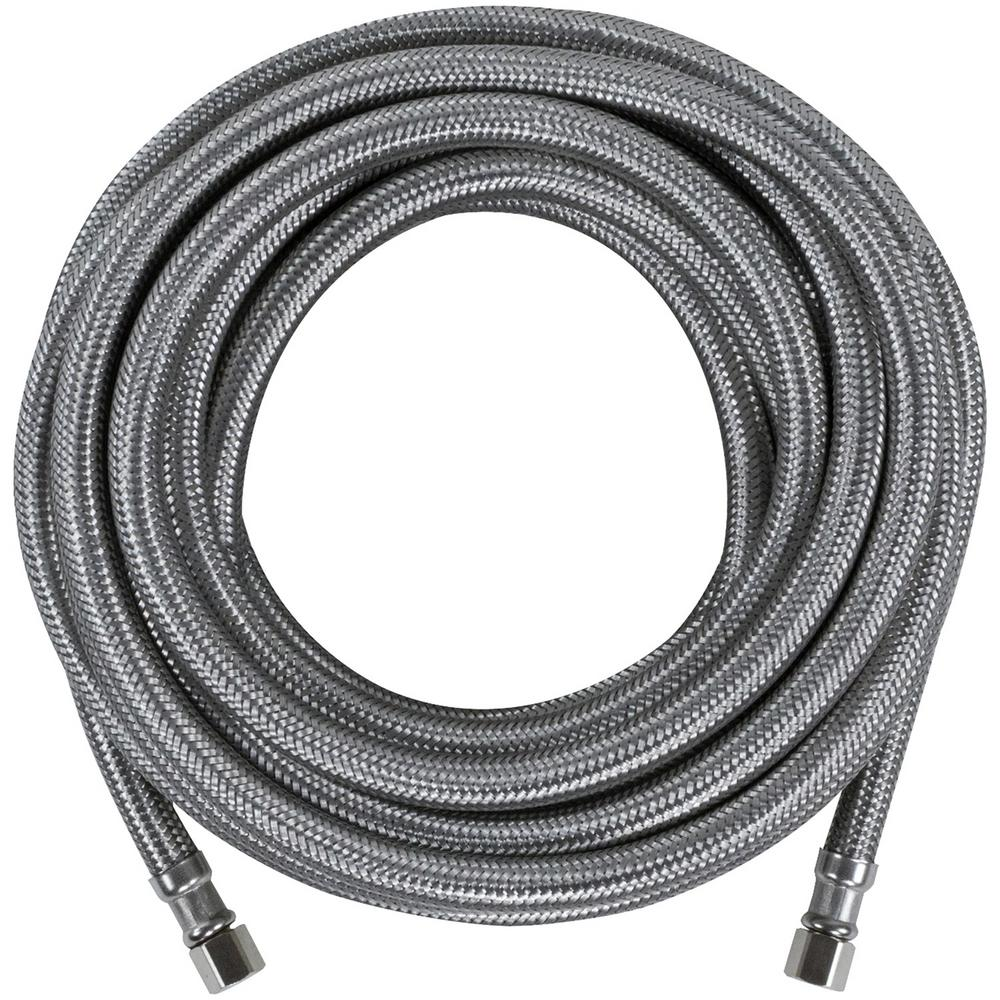 CERTIFIED APPLIANCE ACCESSORIES 25 ft. Braided Stainless Steel Ice Maker Connector, Silver For years, licensed plumbers, electricians and appliance installers have relied on CERTIFIED APPLIANCE ACCESSORIES for their power cords, hoses and connectors. Now you can too. Enjoy the convenience offered by this ice maker connector from CERTIFIED APPLIANCE ACCESSORIES. Its flexibility and durability ensure a reliable connection for your next home installation project. This hose has been thoroughly tested and is backed by a 5-year limited warranty. Check your appliance's manual for the correct specifications to ensure this is the right connector hose for you. Thank you for choosing CERTIFIED APPLIANCE ACCESSORIES Your Appliance Connection Solution. Color: Stainless Steel.
