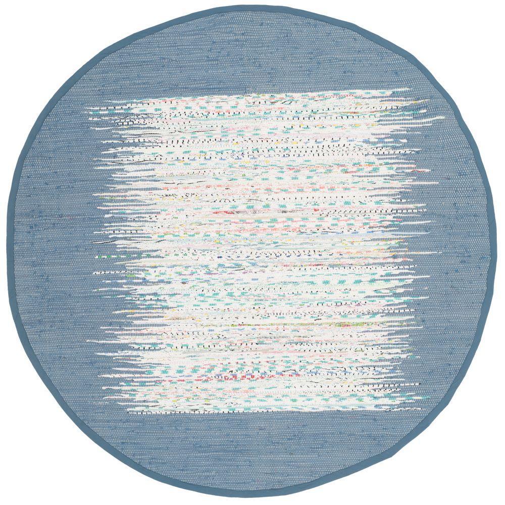Safavieh Montauk Ivory/Dark Blue 4 ft. x 4 ft. Round Area Rug