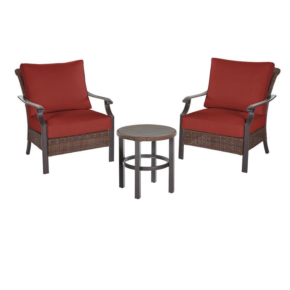 Harper Creek  Brown 3-Piece Steel Outdoor Patio Chair Set with Sunbrella Henna Red Cushions