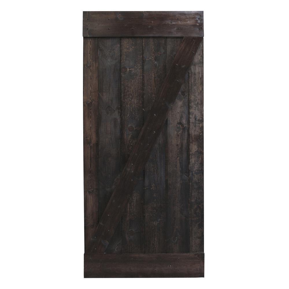 CALHOME 38 in. x 84 in. Dark Coffee Knotty Pine Sliding Interior Barn Door Slab was $409.0 now $219.0 (46.0% off)