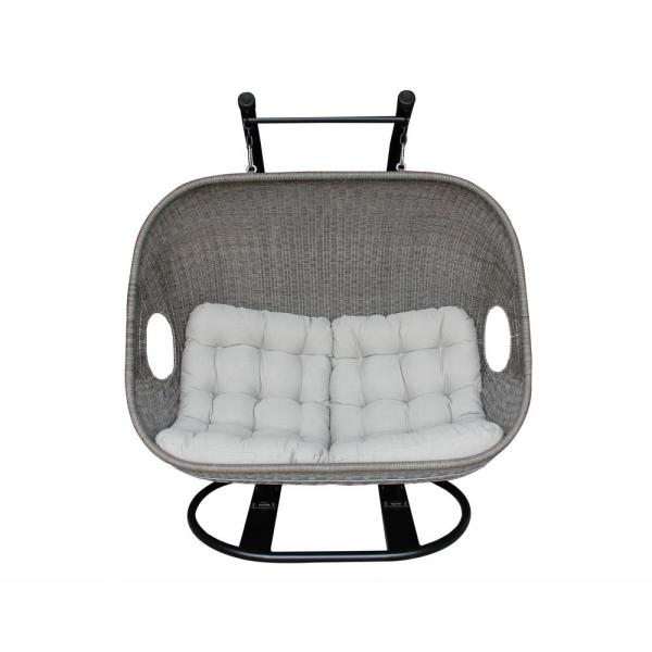 Verona Double Love Black Powder Coated Frame Wicker Steel Patio Swing with White Cushions