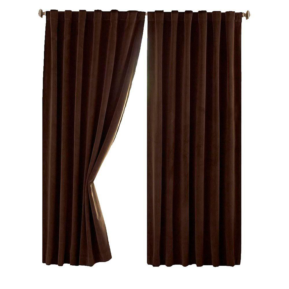 Total Blackout Chocolate Faux Velvet Curtain Panel, 63 in. Length