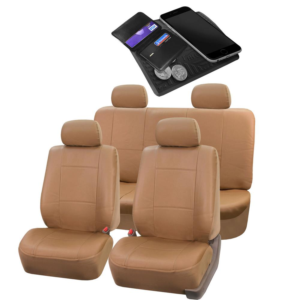 FH Group PU Leather 47 in. x 23 in. x 1 in. Full Set Seat Covers