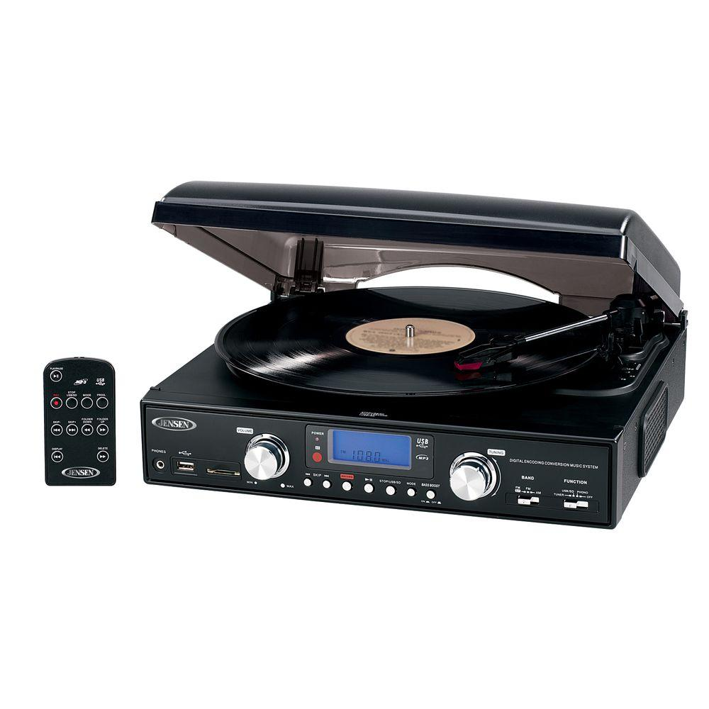 JENSEN Digital 3 Speed Stereo Turntable With MP3 Encoding And AM/FM Receiver