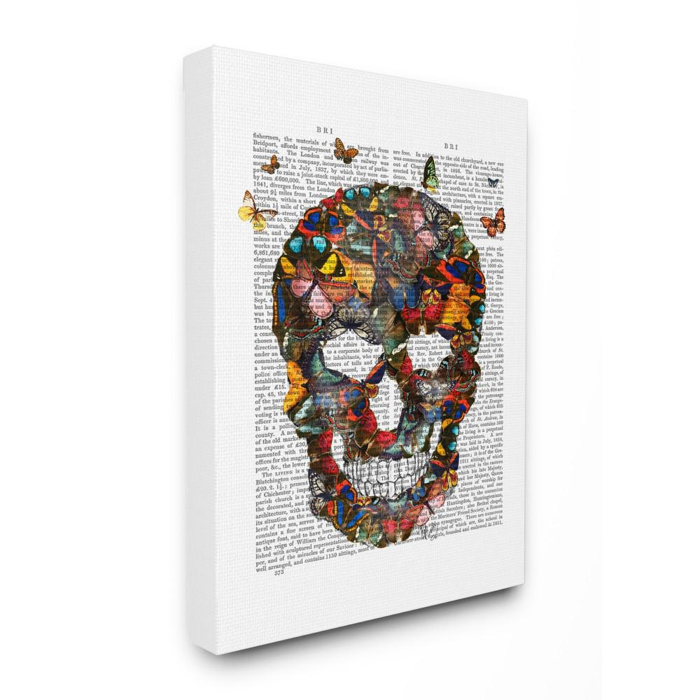 16 in x 20 in dark rainbow skull of butterflies on a book page by artist fab funky canvas wall art