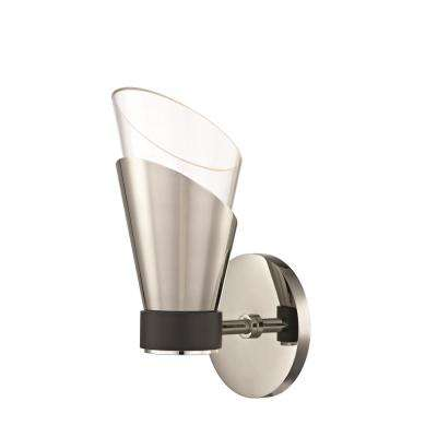 Angie 1-Light Polished Nickel 9.75 in. H LED Wall Sconce