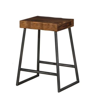 Emerson 26 in. Natural Sheesham Manufactured Live Edge Square Non-Swivel Backless Counter Stool