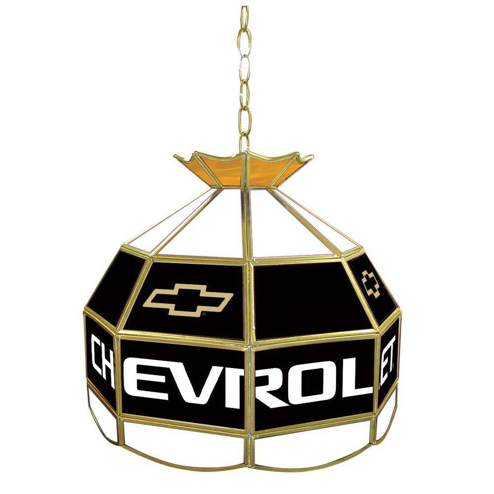Trademark Global Chevrolet 16 in. Brass Billiard Hanging Tiffany Light