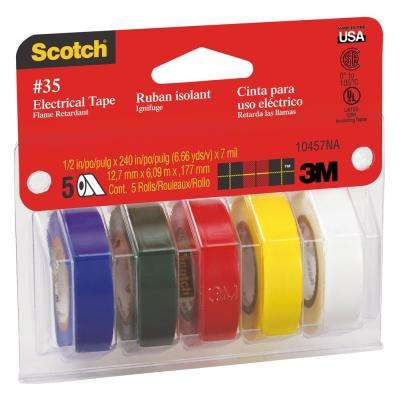 Scotch 1/2 in. x 20 ft. Electrical Tape, Blue/Green/Red/Yellow/White (5-Pack)