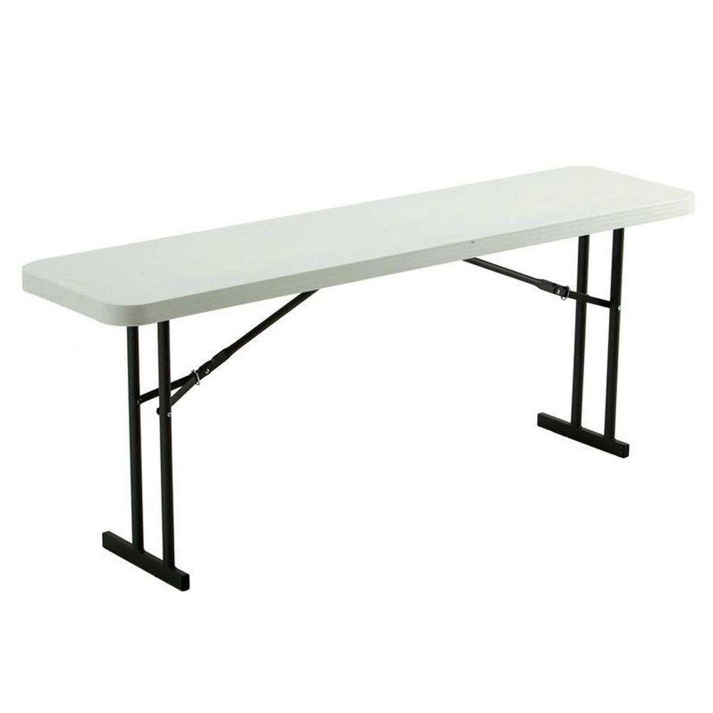 Lifetime 72 In White Plastic Folding Seminar Table 80176 The Home Depot
