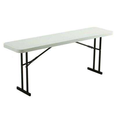 72 in. White Plastic Folding Seminar Table