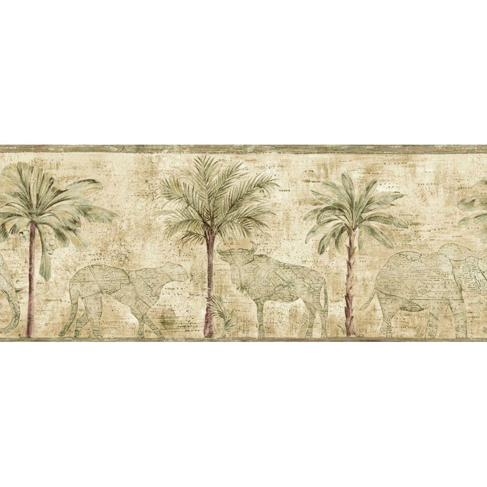The Wallpaper Company 8.5 in. x 15 ft. Green Palm Tree Border-DISCONTINUED