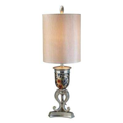 36.5 in. Antique Brass Cherry Blossoms Table Lamp