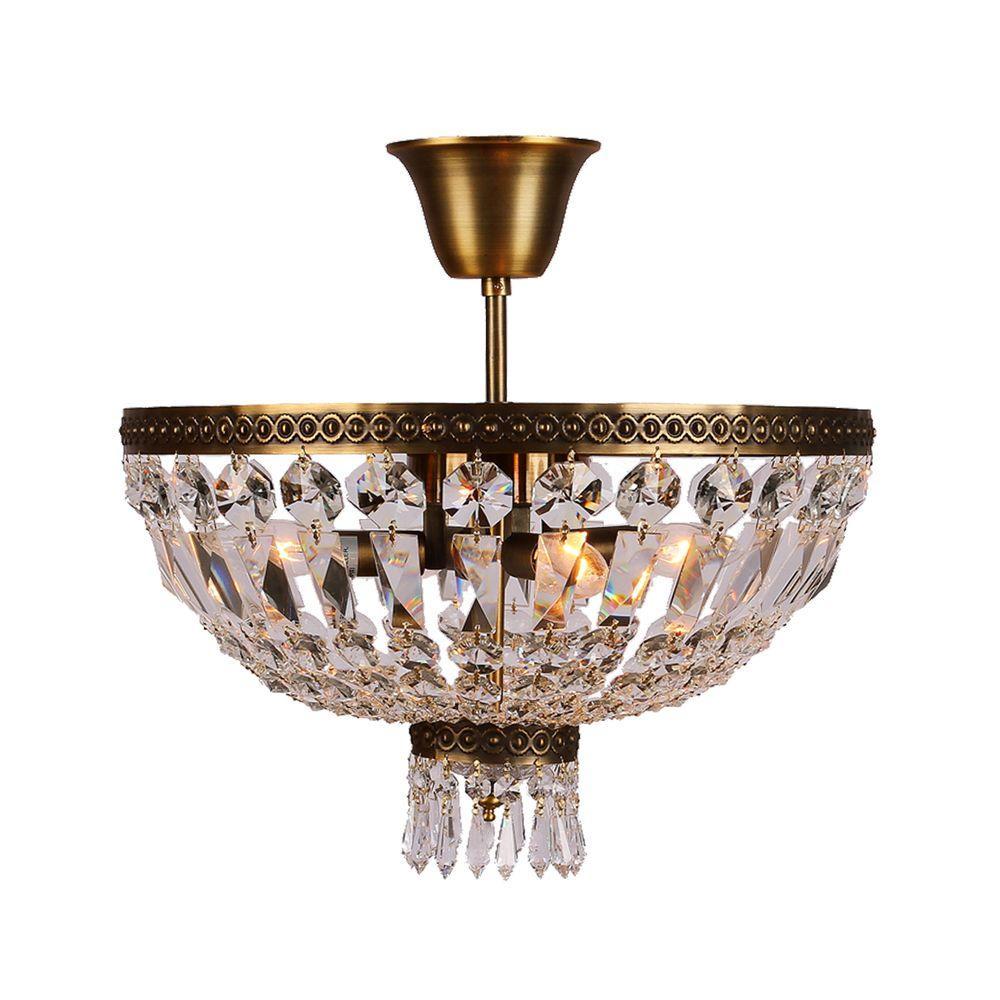 Metropolitan Collection 3-Light Antique Bronze and Clear Crystal Semi-Flush Mount Light