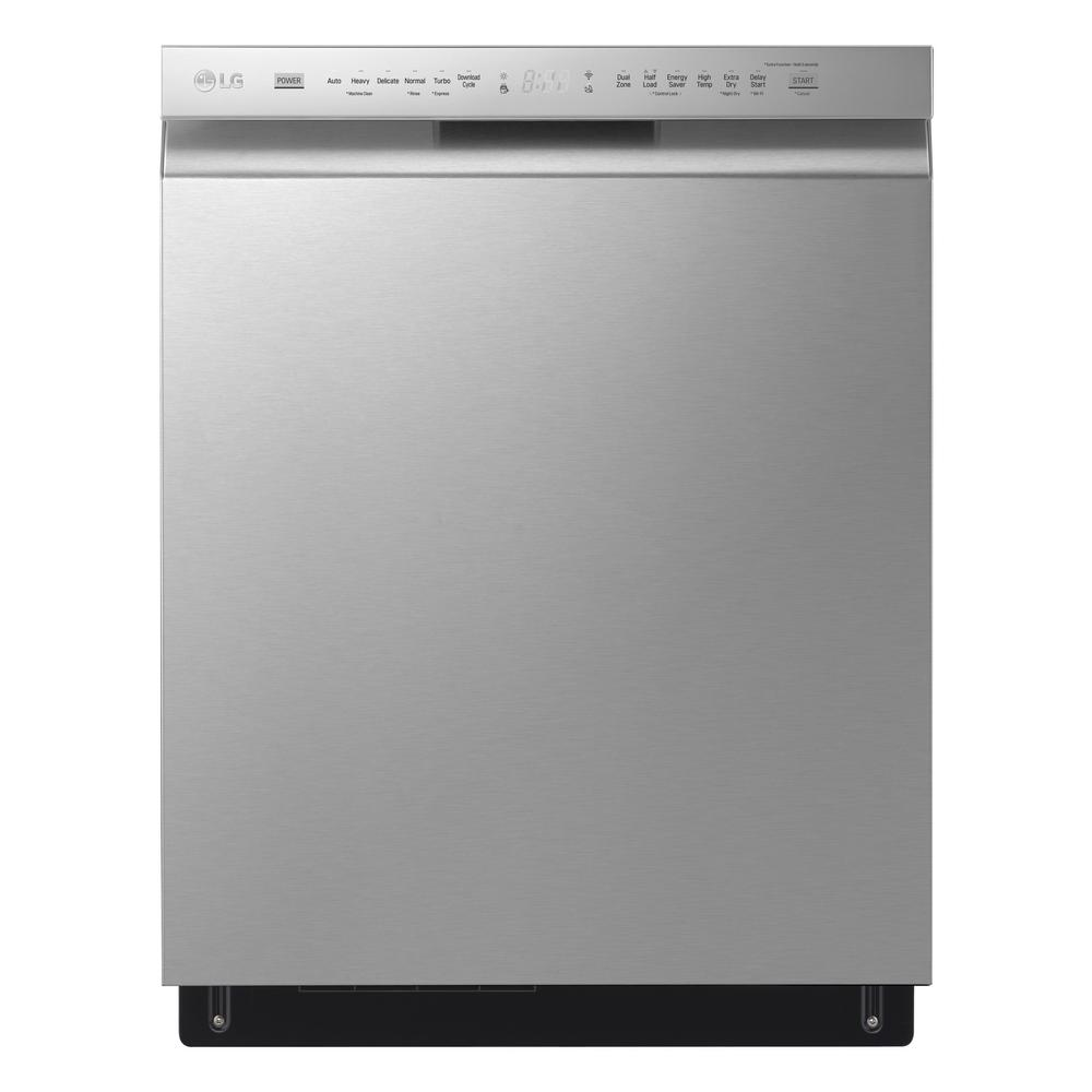 LG Electronics 24 in. Stainless Steel Front Control Dishwasher with QuadWash, 3rd Rack & Dynamic Dry, 48 dBA, Silver