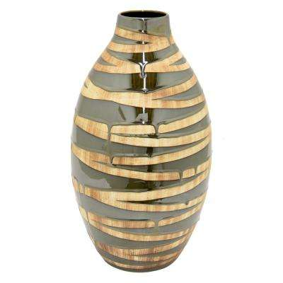 Brown 2-Tone Ceramic Decorative Vase