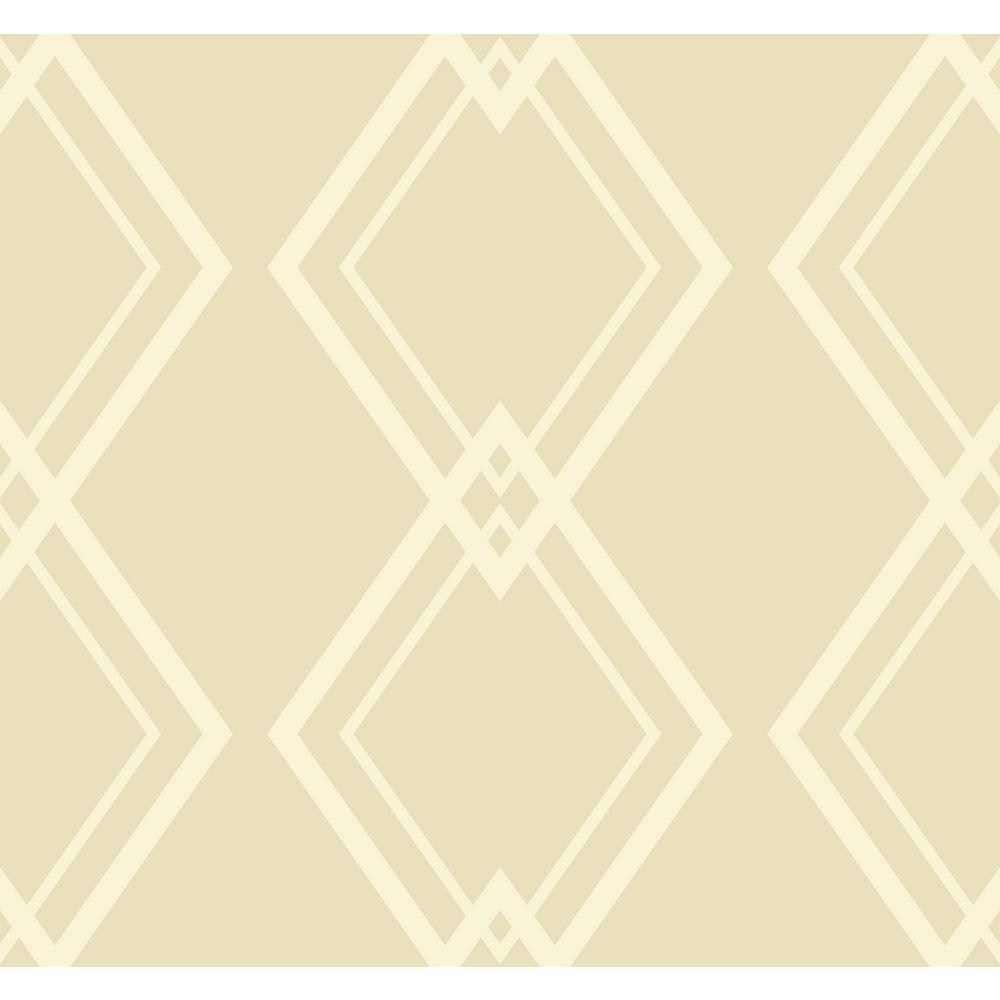 Diamond Link Tan and White Geometric Wallpaper