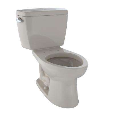 Drake ADA Compliant 2-Piece 1.28 GPF Single Flush Elongated Toilet with Bolted Tank Lid in Bone