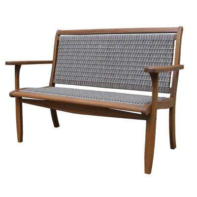Grey Wicker and Eucalyptus Outdoor Bench