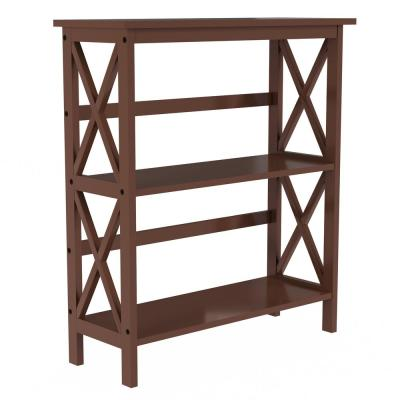 33 in. Brown Wood 2-shelf Accent Bookcase with Open Back