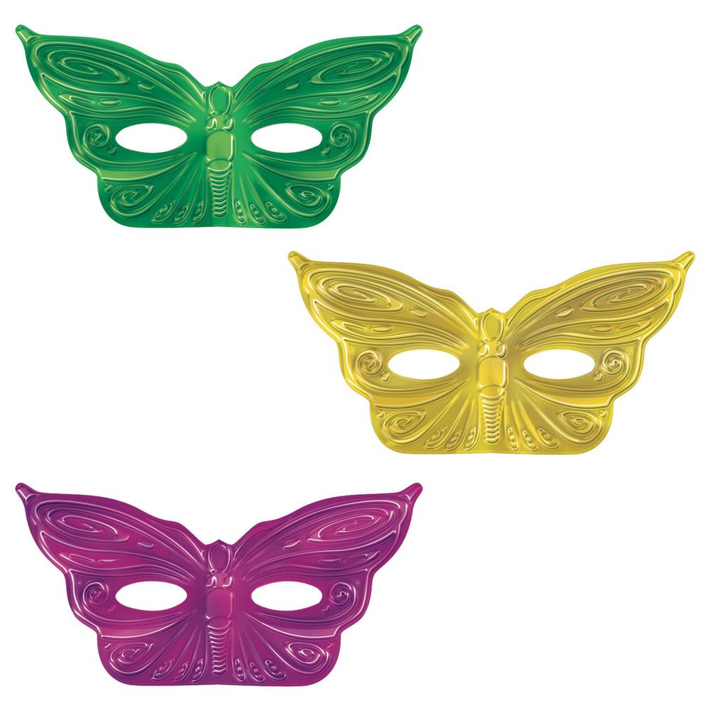 "12 x 3/"" Amscan Mardi Gras Mask String Garland Party Decoration 2-Pack Multi Color"
