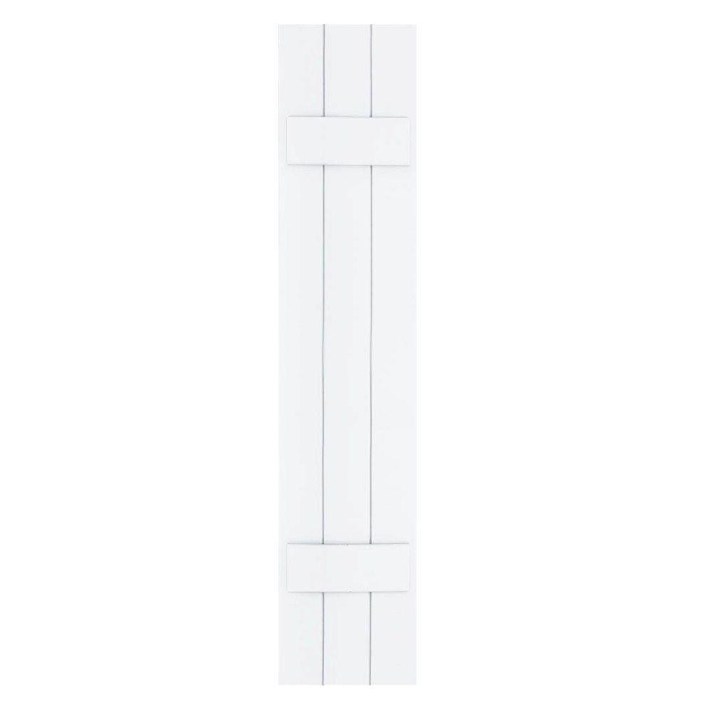 Winworks Wood Composite 12 in. x 57 in. Board & Batten Shutters Pair #631 White