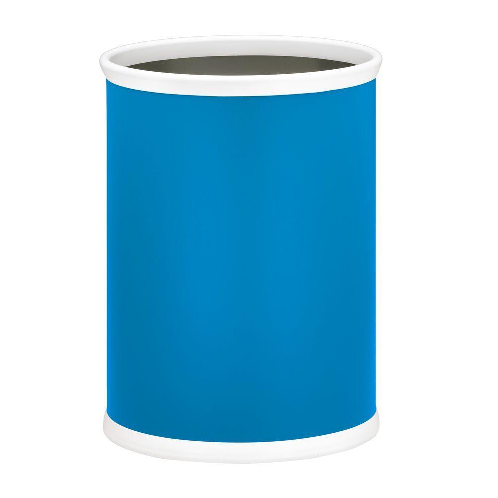 Bartenders Choice Fun Colors Process Blue 13 Qt. Oval Waste Basket