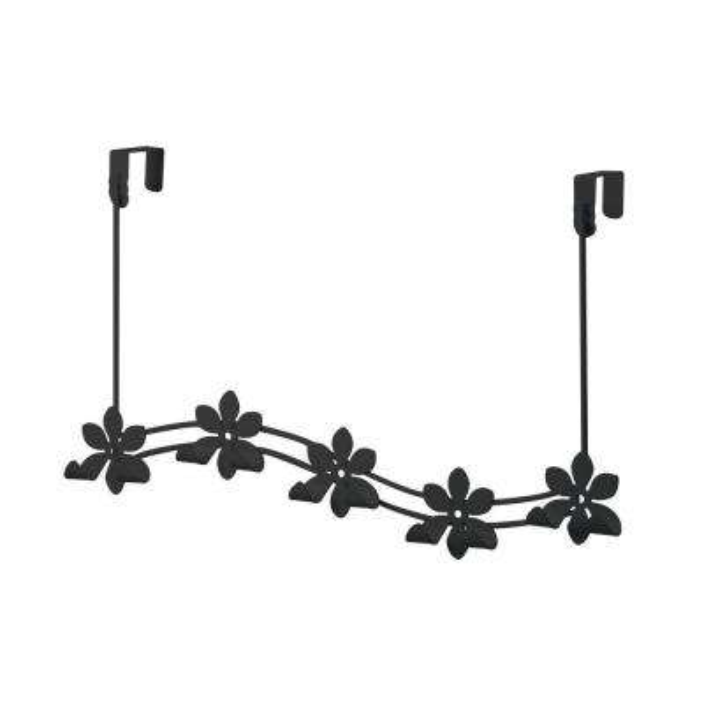 Black Flower 21-1/4 in. L Decorative 5-Hook Over the Door Rack