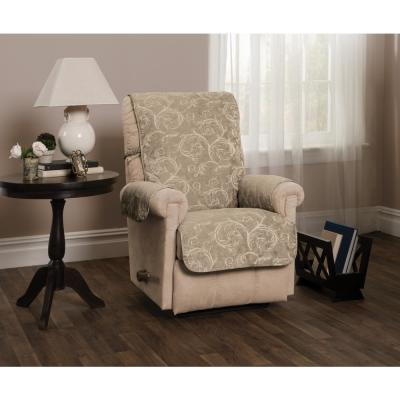 Lemont Taupe Scroll Jacquard Recliner Furniture Cover Slipcover