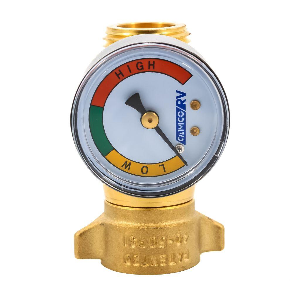 Camco Brass Water Pressure Regulator With Gauge 40064 The Home Depot