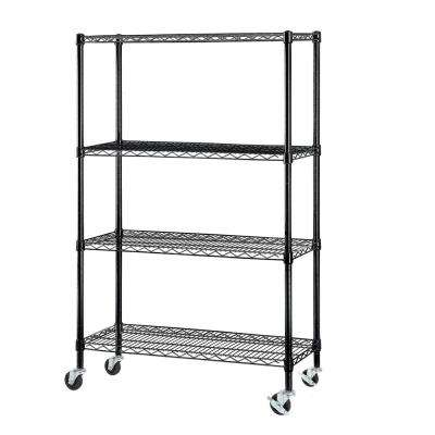 59 in. H x 36 in. W x 14 in. D-4 Tier Wire Shelving with Casters in Black