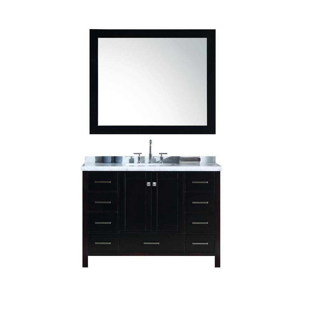 Ariel Cambridge 49 in. Bath Vanity in Espresso with Marble Vanity Top in Carrara White with White Basins and Mirror
