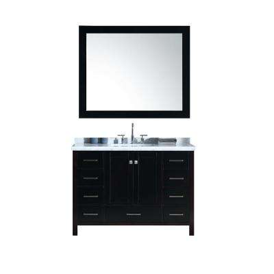 Cambridge 49 in. Bath Vanity in Espresso with Marble Vanity Top in Carrara White with White Basins and Mirror