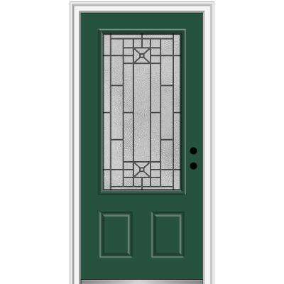 36 in. x 80 in. Courtyard Left-Hand 3/4 Lite Decorative Painted Fiberglass Smooth Prehung Front Door, 4-9/16 in. Frame