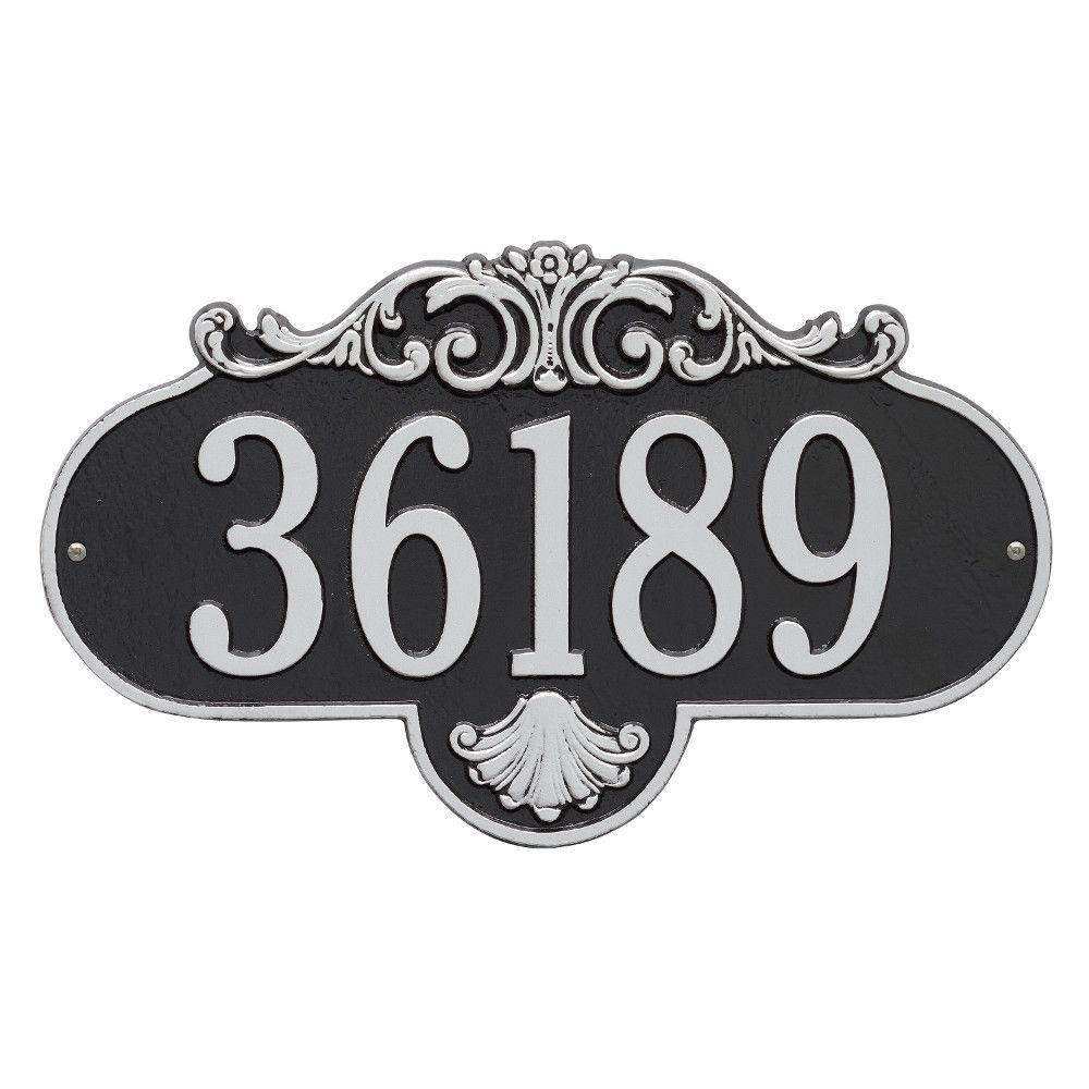 Whitehall Products Rochelle Oval Black/Silver Grande Wall 1-Line Address Plaque