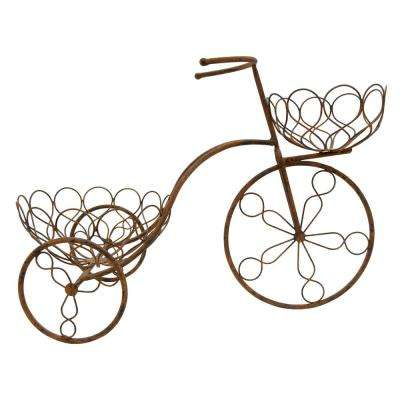 22.5 in. x 11.5 in. Metal Bicycle Planter in Brown