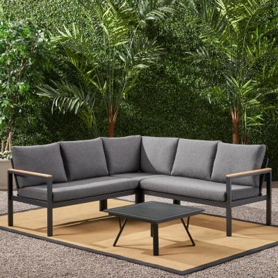Noble House Lampert Grey 4-Piece Aluminum with Faux Wood Accents Patio Conversation Sectional Seating Set with Grey Cushions