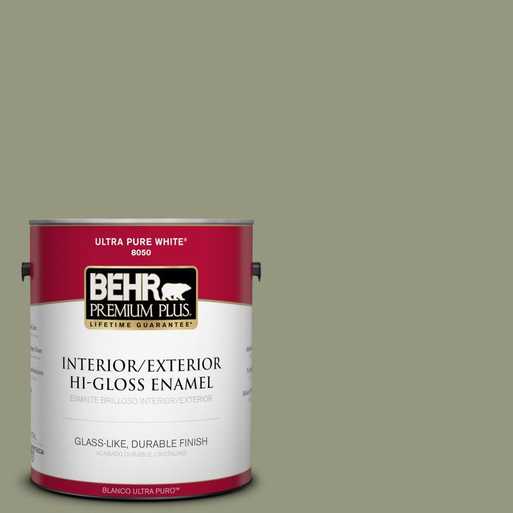 BEHR Premium Plus 1-gal. #S380-5 Milkweed Pod Hi-Gloss Enamel Interior/Exterior Paint