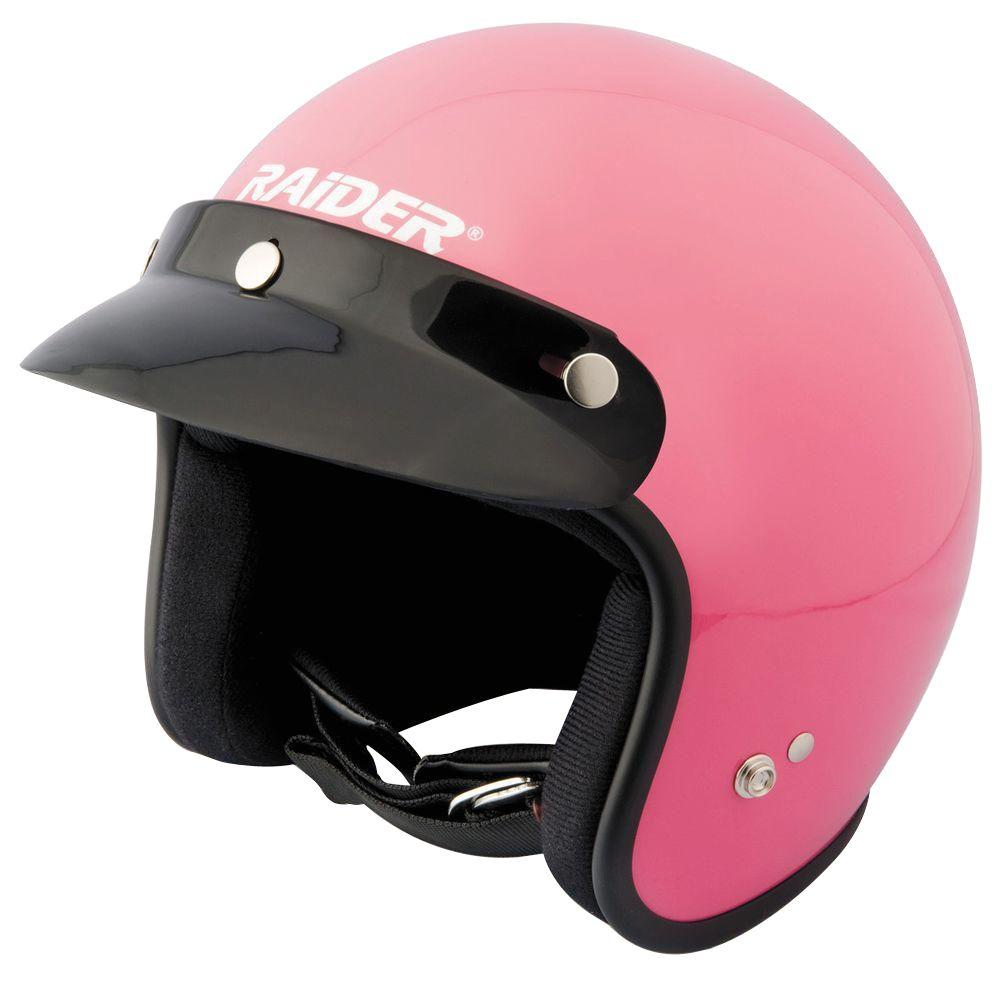 Raider 2X-Large Adult Gloss Pink Open Face Helmet