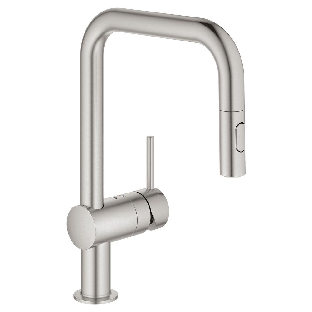 Grohe Minta Single Handle Dual Spray Pull Out Sprayer Kitchen Faucet 1 75 Gpm With U Shaped Spout In Supersteel Infinityfinish 32319dc3 The Home Depot