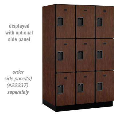 23000 Series Triple Tier 24 in. D 9 Compartments Extra Wide Designer Wood Locker in Mahogany