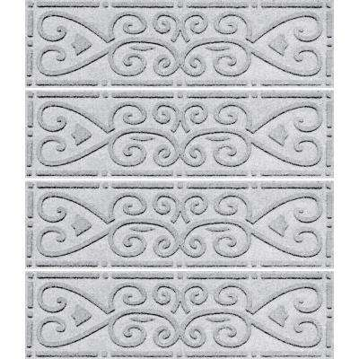 White 8.5in. x 30in. Scroll Stair Tread Cover (Set of 4)