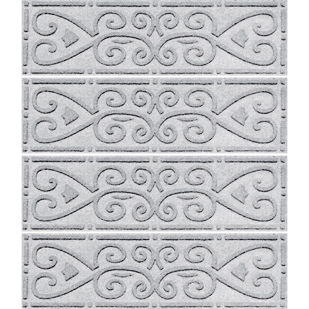 Aqua Shield White 8.5in. X 30in. Scroll Stair Tread Cover (Set Of