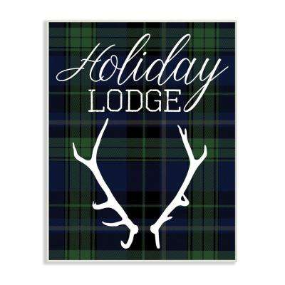 "12.5 in. x 18.5 in. ""Holiday Lodge Christmas Antlers"" by Daphne Polselli Printed Wood Wall Art"