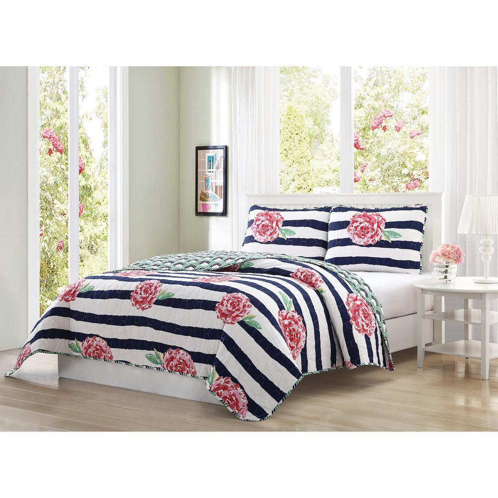 Marielle 3-Piece Navy/Pink/Green/White Queen Reversible Quilt Set