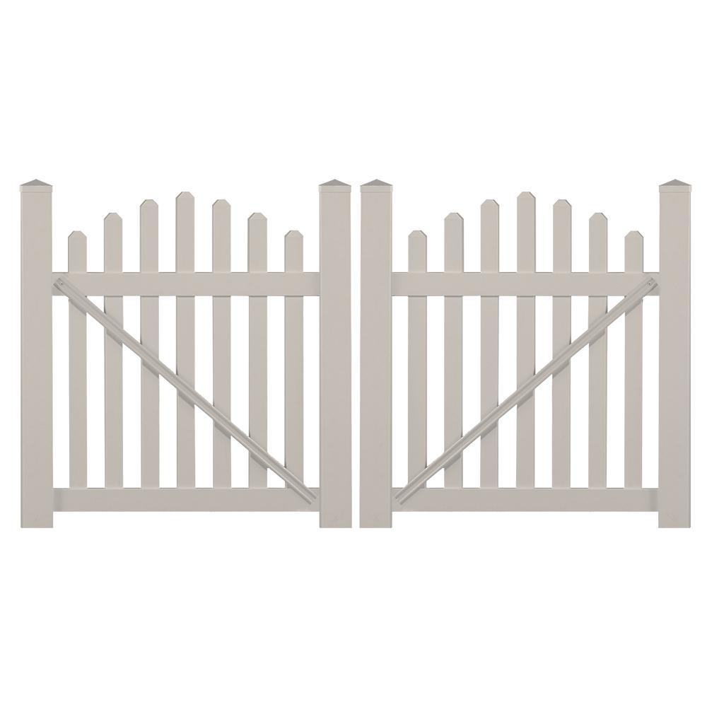 Sanibel 8.8 ft. W x 4 ft. H Tan Vinyl Picket Fence Double Gate