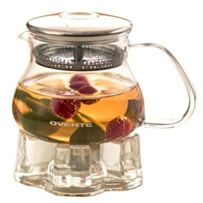 2.1-Cup Glass with Stainless Steel Mesh Filter, Heat Tempered Borosilicate Teapot Warmer