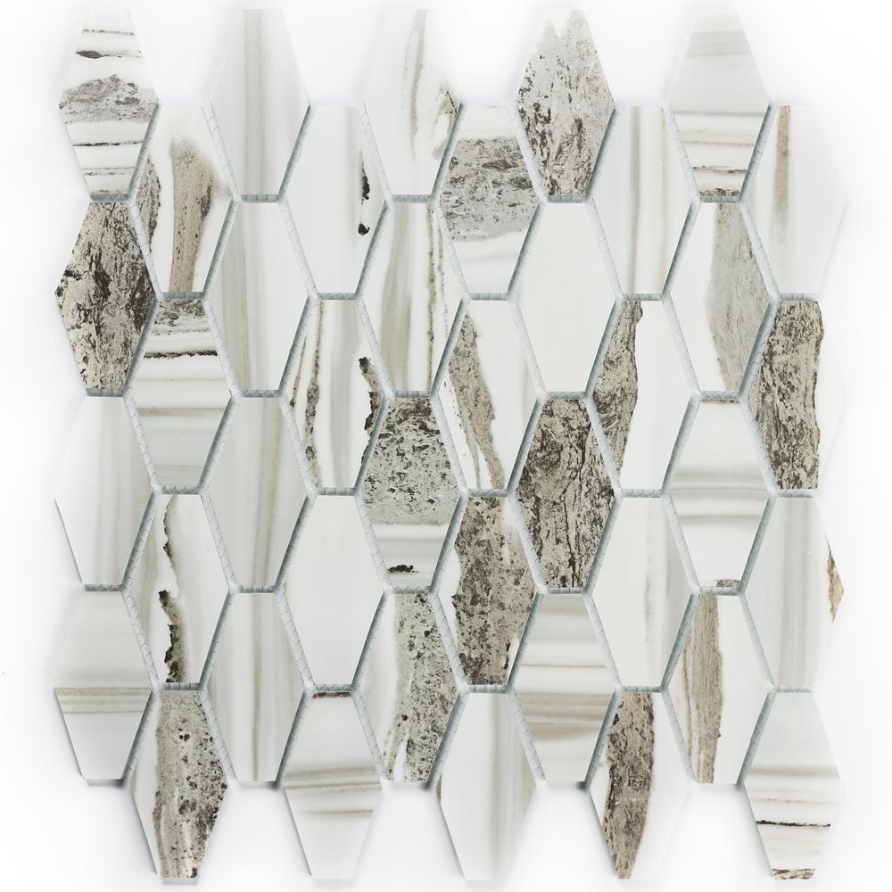 Gray Mosaic 1.5 in. x 3 in. Matte Glass Mesh Mounted Decorative Bathroom Wall Backsplash Tile (1 Sq. ft.)